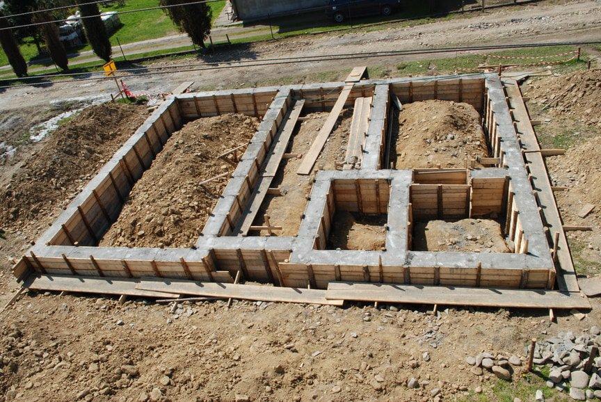 concrete foundation of a house