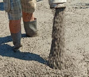 Pouring concrete - closeup