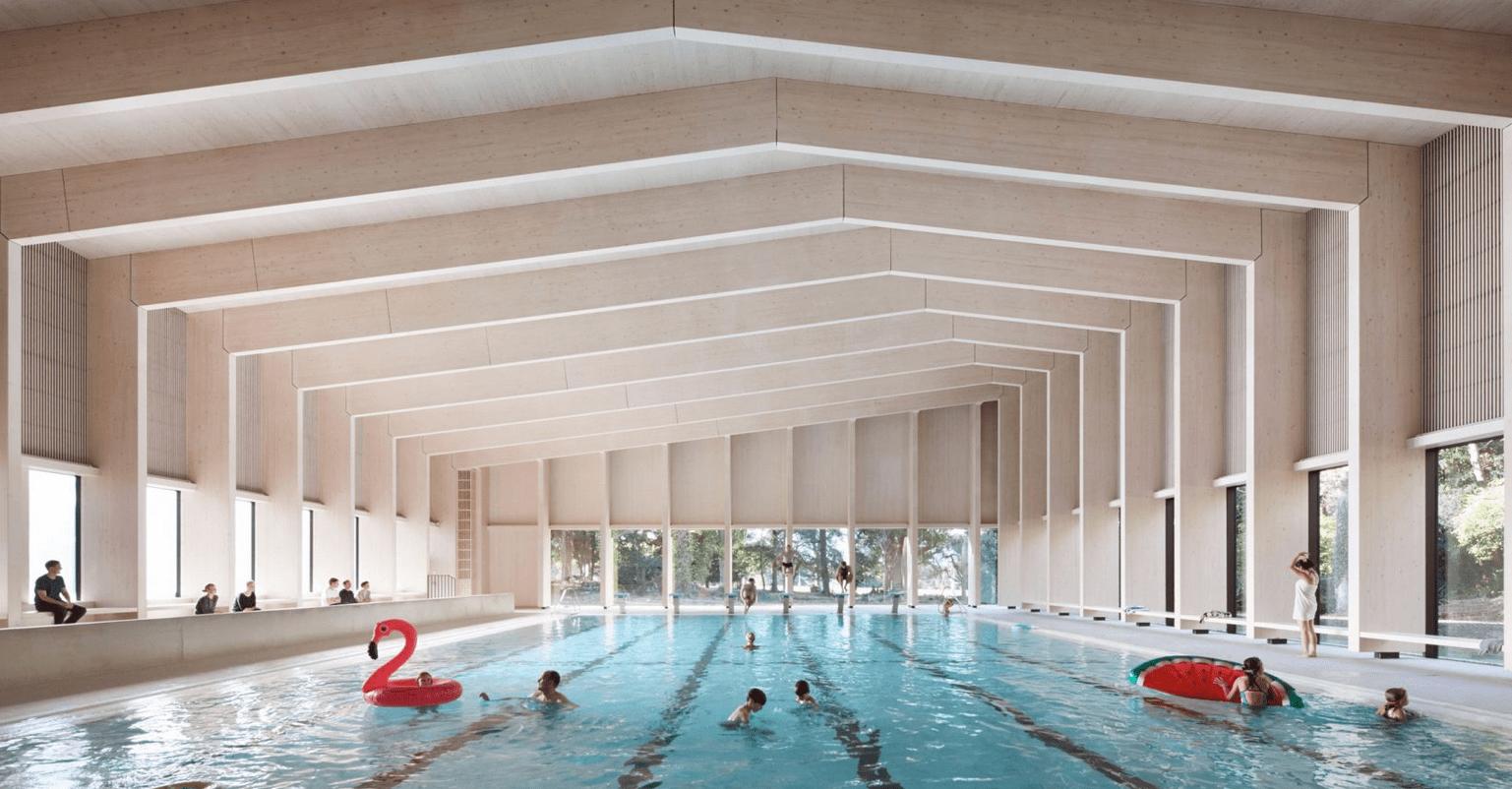 Деревянный каркас для бассейна в Англии